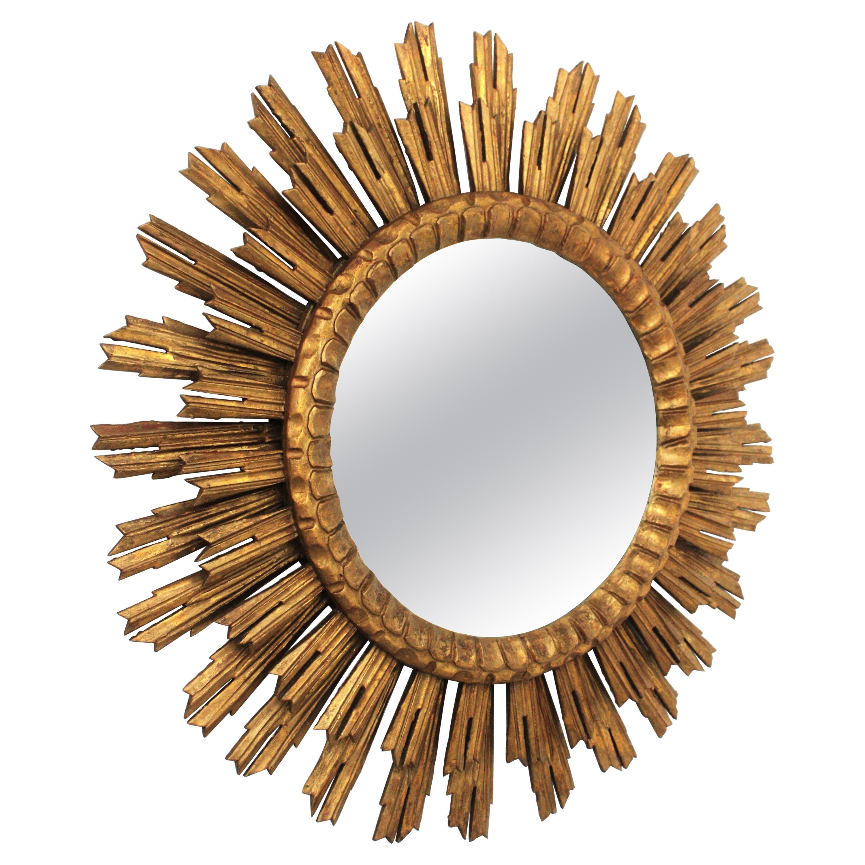 Large Sunburst Gitwood Mirror