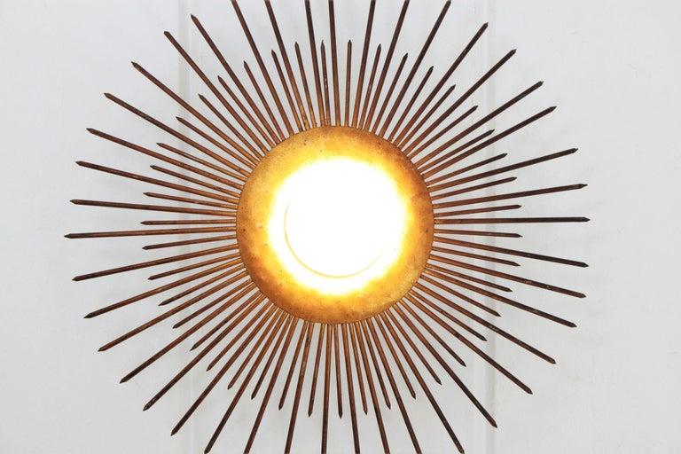 Large Sunburst Light Fixture in Gold Leaf Gilt Iron, France, 1940s For Sale 5