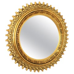 Large Sunburst Mirror in Gold Gilt Resin and Wood by Francisco Hurtado