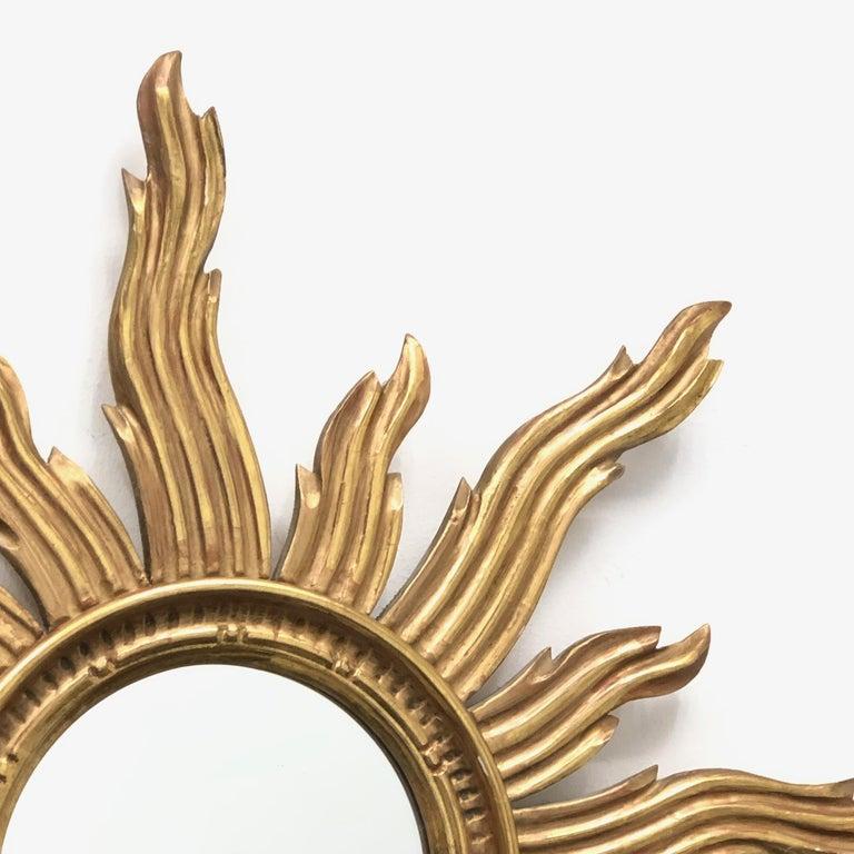 Hollywood Regency Large Sunburst Starburst Mirror Wood Vintage German, circa 1970s For Sale