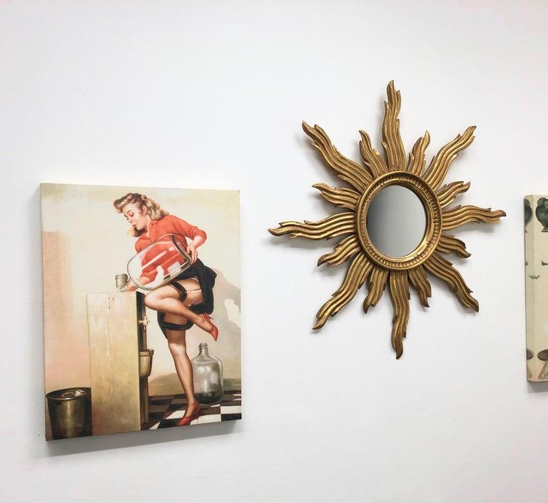 Large Sunburst Starburst Mirror Wood Vintage German, circa 1970s For Sale 2