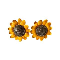 Large Sunflower Statement Earrings