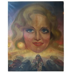 Large Surrealistic Portrait of a Lady Signed O. Tornejal 1942