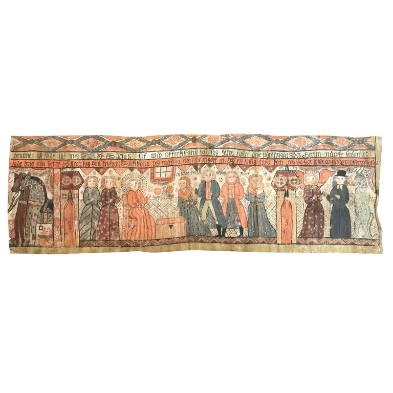 Large Swedish Bonad / Kurbitz, Naive Folk Art Wall Hanging, Smaaland, circa 1800 For Sale