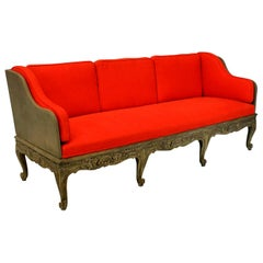 Large Swedish Carved and Painted Day Bed or Settee with Removable Back