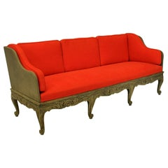Large Swedish Carved and Painted Settee in Orange Corduroy