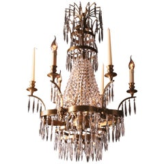 Large Swedish Ceiling Chandelier in Classicist Style