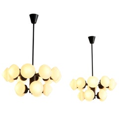 Large Swedish Chandelier in Metal and 15 Opaline Glass Shades