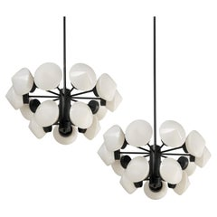 Large Swedish Chandeliers in Metal and 15 Opaline Glass Shades