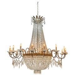 Large Swedish Crystal 20-Light Basket Form Chandelier