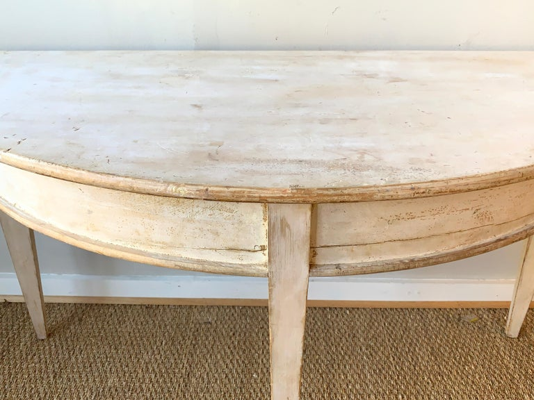 Large Swedish Demilune Console Table For Sale 3