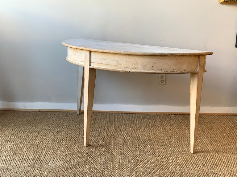 Painted Large Swedish Demilune Console Table For Sale
