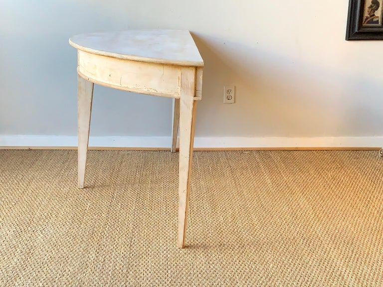 Large Swedish Demilune Console Table In Good Condition For Sale In Kilmarnock, VA
