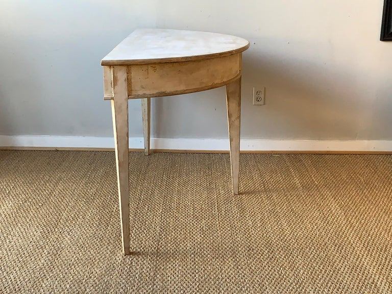 Wood Large Swedish Demilune Console Table For Sale