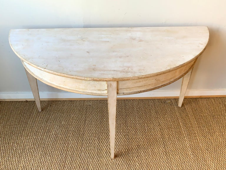 Large Swedish Demilune Console Table For Sale 1
