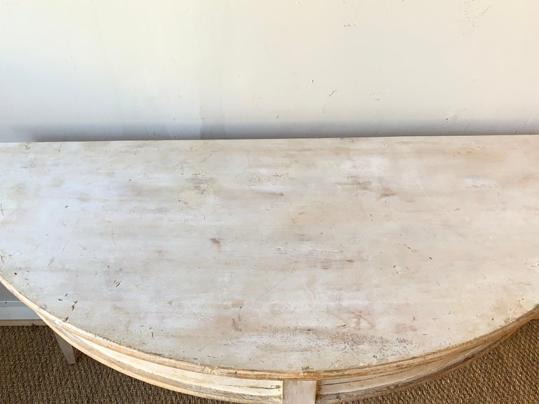 Large Swedish Demilune Console Table For Sale 2