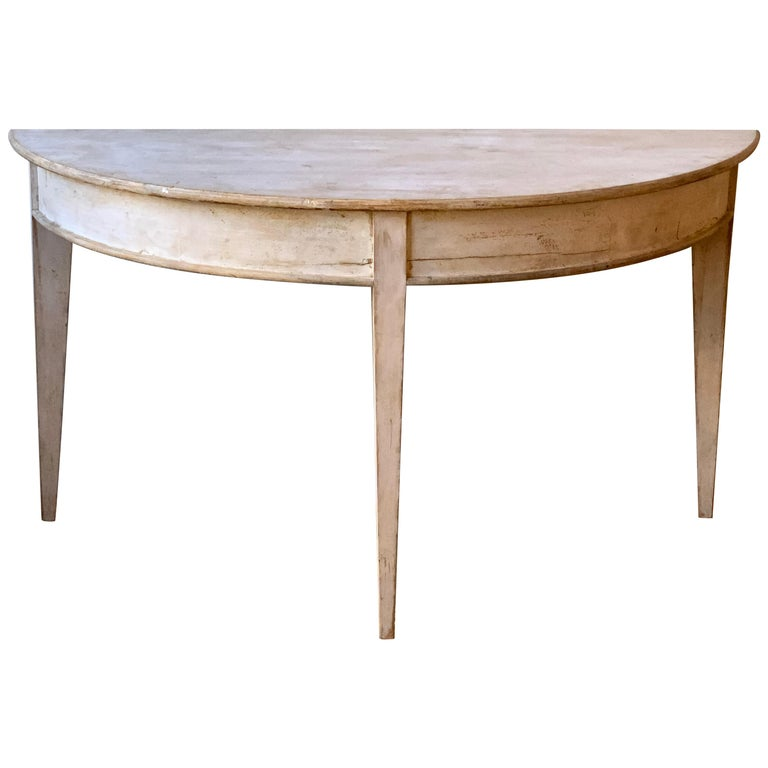 Large Swedish Demilune Console Table For Sale