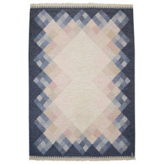 "Large Swedish Flat-Weave Kilim R?lakan Carpet ""OPAL"" by Brita Svefors"