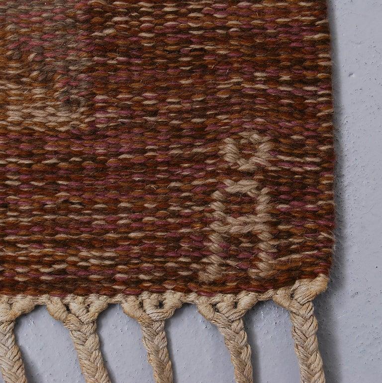 Large Swedish Flat-Weave Rölakan Rug Aniara by Anna Johanna Ångström, 1960s In Good Condition In Stockholm, SE