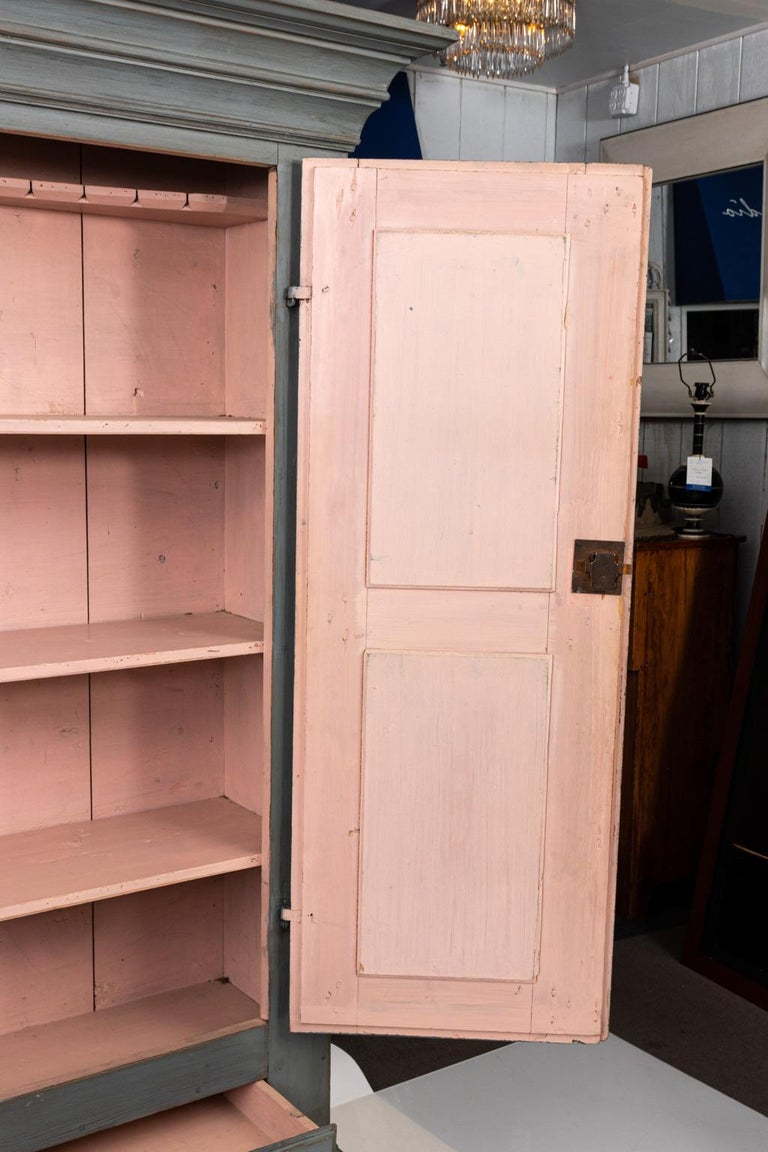 Large Swedish Gray Painted Cupboard For Sale 5