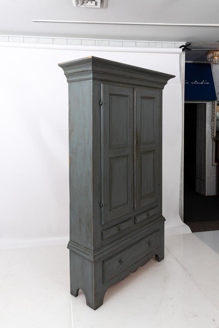 Large Swedish Gray Painted Cupboard For Sale 6