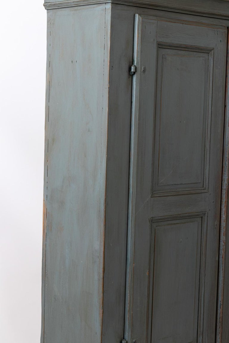 Large Swedish Gray Painted Cupboard For Sale 7