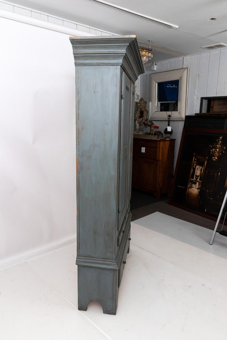 Large Swedish Gray Painted Cupboard For Sale 8