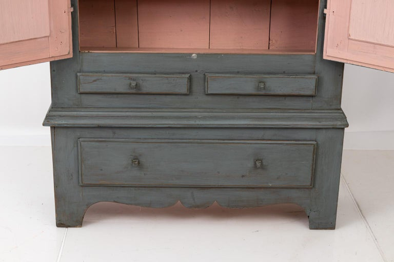 Large Swedish Gray Painted Cupboard In Good Condition For Sale In Stamford, CT