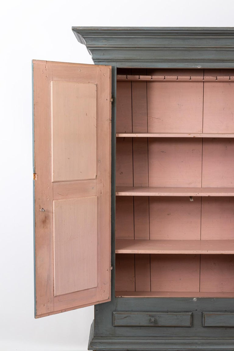 19th Century Large Swedish Gray Painted Cupboard For Sale