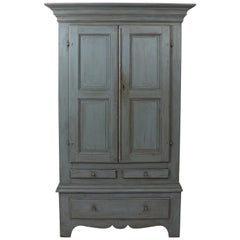 Large Swedish Gray Painted Cupboard