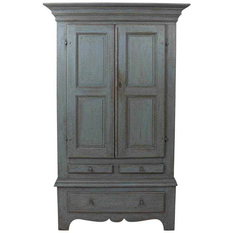 Large Swedish Gray Painted Cupboard For Sale