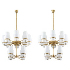 Large Swedish Midcentury Chandeliers in Brass and Frosted Opaline Glass