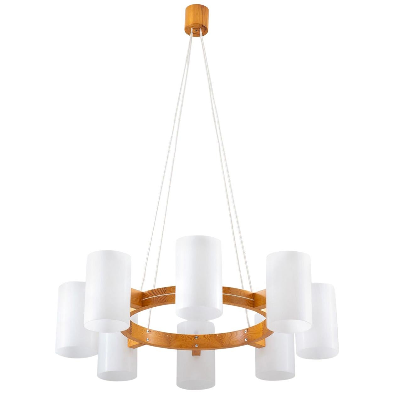 Large Swedish Midcentury Chandelier in Pine and Acrylic by Luxus