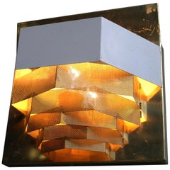 Large Swedish Monumental Brass and Metal Mesh Wall Lamp, 1960s