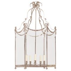 Large Swedish Neoclassic Lantern, Nickel