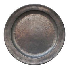 Large Swedish Rustic 18th Century Pewter Charger with Code oOf Arms, Dated 1724
