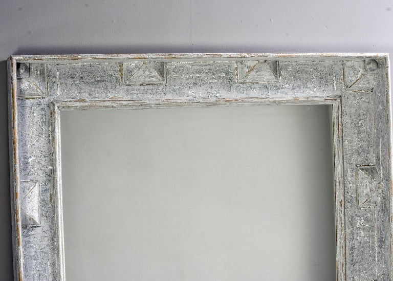 Large Swedish Style Mirror with Gray Blue Paint For Sale 5