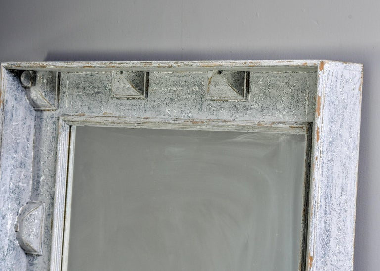 Gustavian Large Swedish Style Mirror with Gray Blue Paint For Sale
