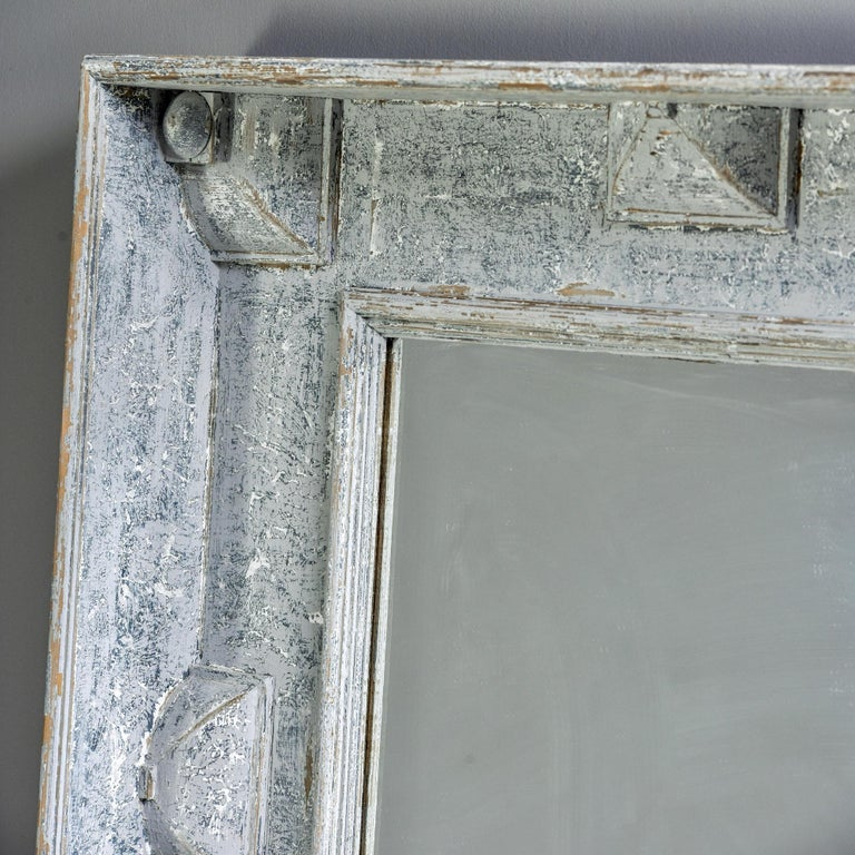 European Large Swedish Style Mirror with Gray Blue Paint For Sale