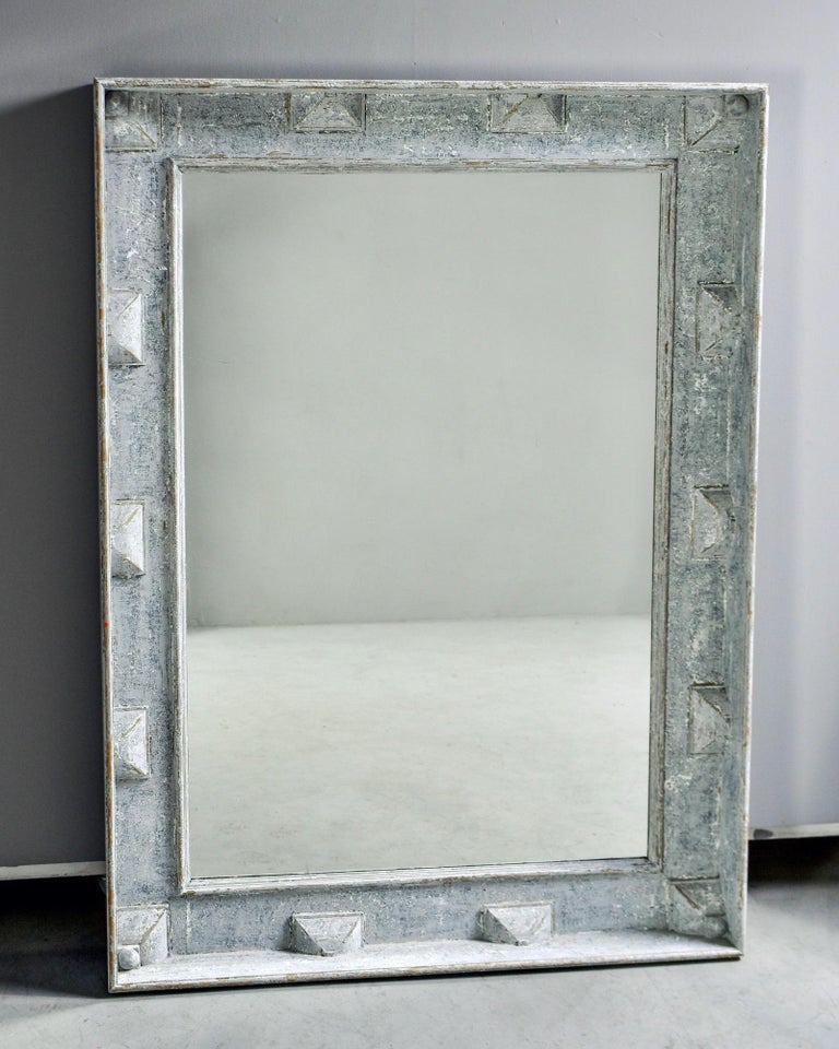 Large Swedish Style Mirror with Gray Blue Paint In Good Condition For Sale In Troy, MI