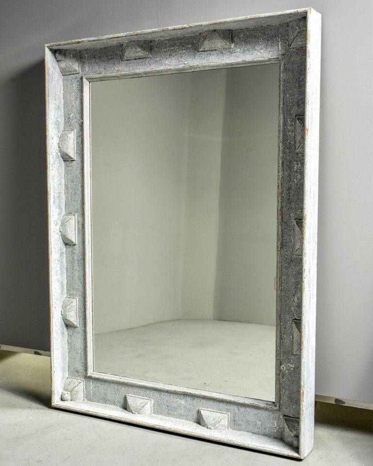 Large Swedish Style Mirror with Gray Blue Paint For Sale 2