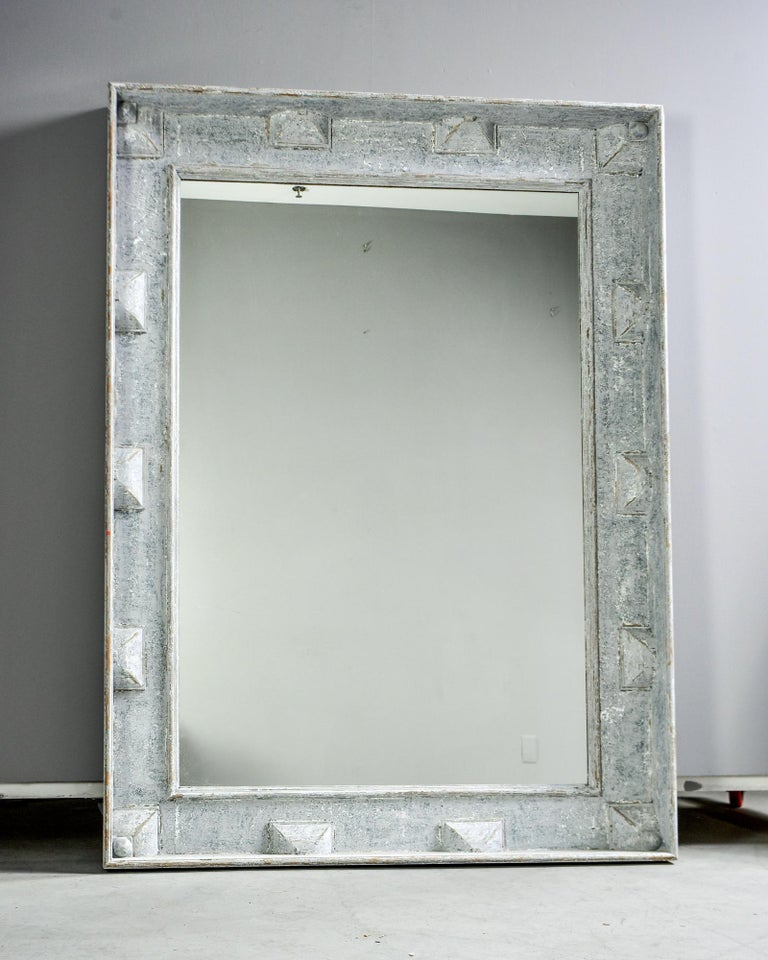 Large Swedish Style Mirror with Gray Blue Paint For Sale 3