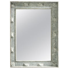 Large Swedish Style Mirror with Gray Blue Paint