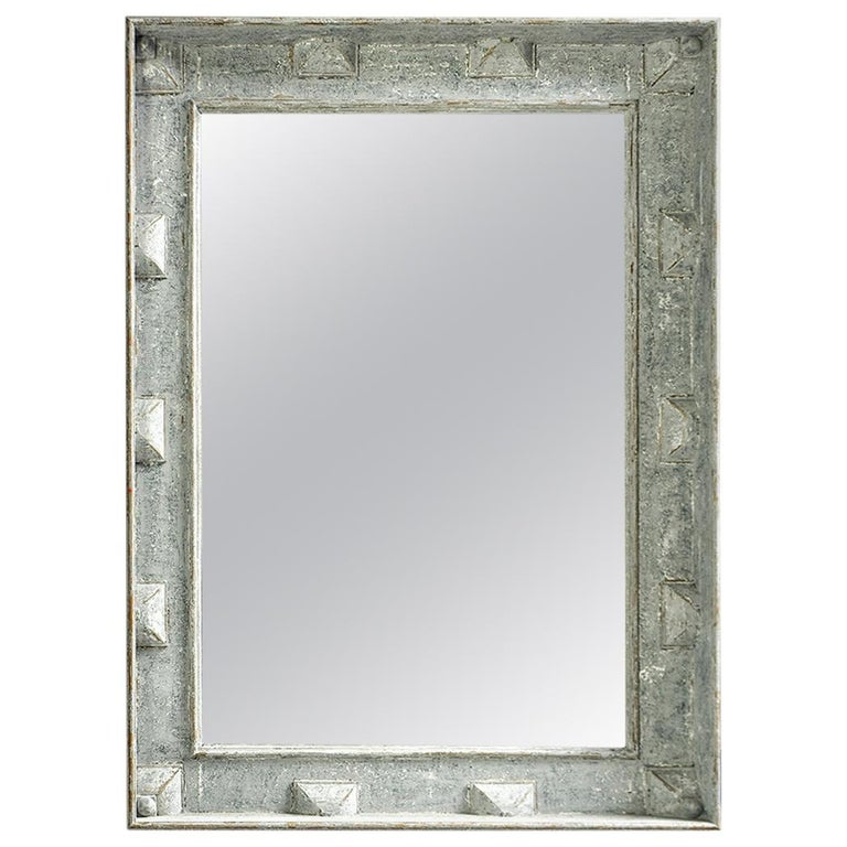 Large Swedish Style Mirror with Gray Blue Paint For Sale
