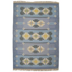 Large Swedish Vintage Flat-Weave Rölakan Carpet by Ingegerd Silow