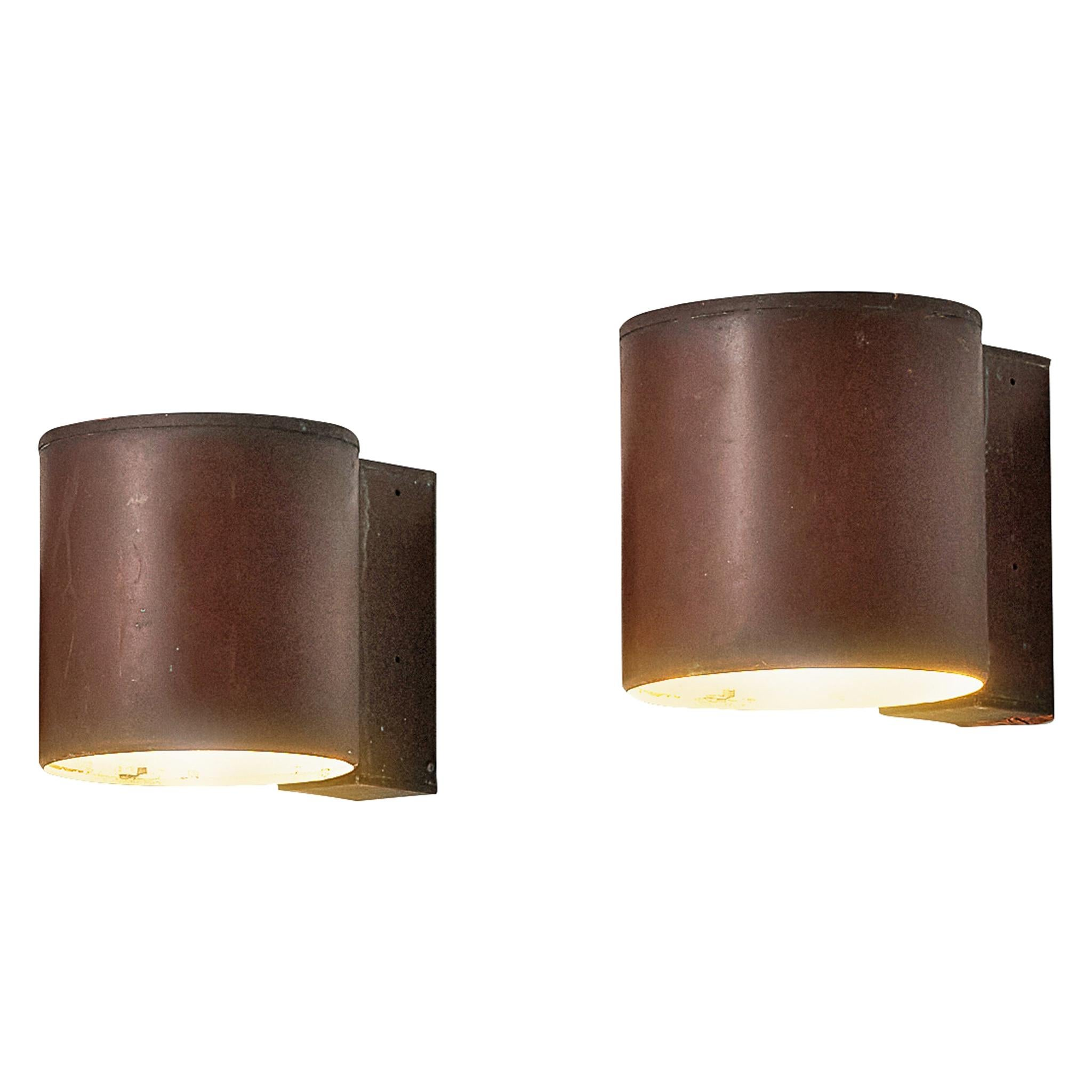 Large Swedish Wall Lights in Patinated Copper