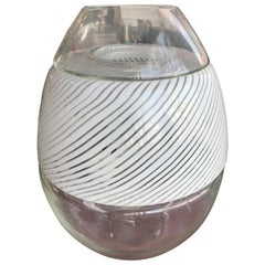 Large Swirled Glass Egg Lamp and Vase by Vetri Murano, Italy, 1970s