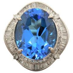 Large Swiss Blue Topaz Diamond Platinum Cocktail Ring