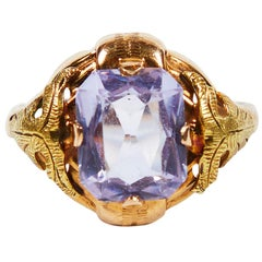 Large Synthetic Lavender Spinel Ring with Grape Leaves, 1920s-1930s