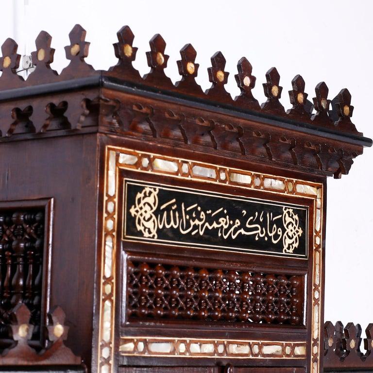 Moorish Large Syrian Inlaid Wall Cabinet or Shelf For Sale